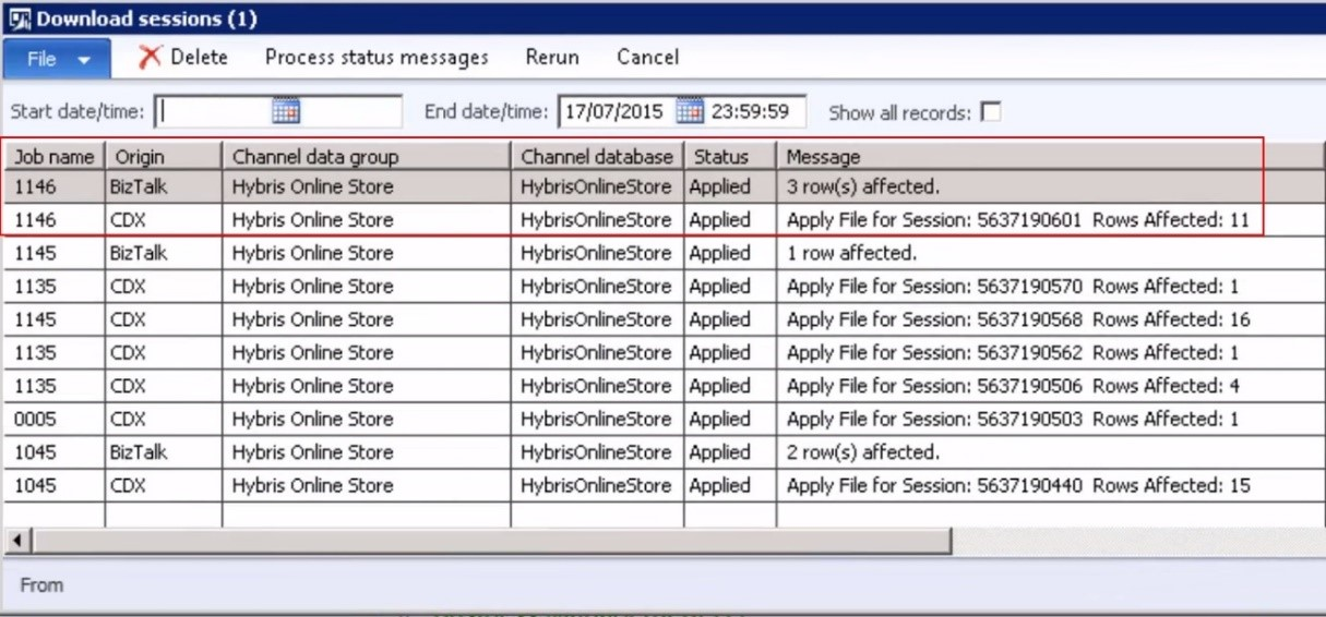 Microsoft Dynamics AX Retail Download sessions customization