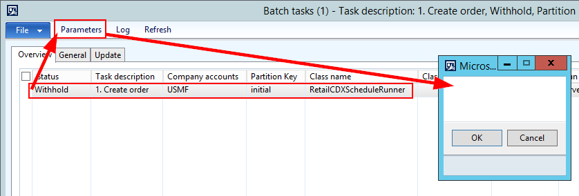 Parameter on batch task