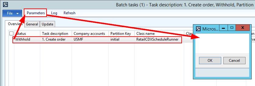 Parameter on batch task