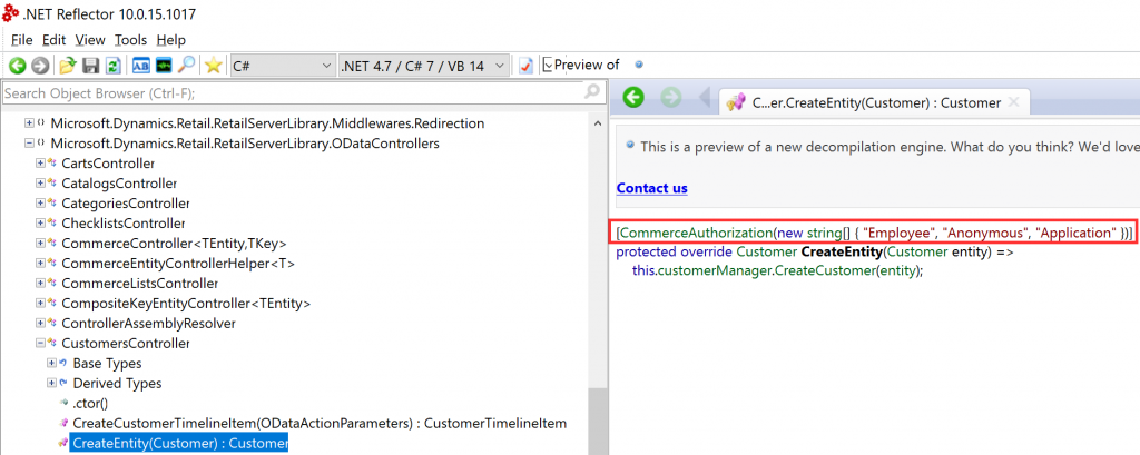 D365 Retail Server CommerceAuthorization Attribute